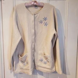 Winter Holiday Themed Fleece Cardigan